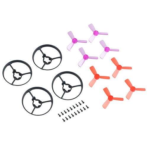 Makerfire 4pcs Propellers Guard Ring and 8pcs 1935 3-Blade Props for 90mm Micro Brushless Quadcopter Armor 90 BNF FPV Racing - Micro Quad Props Copter For