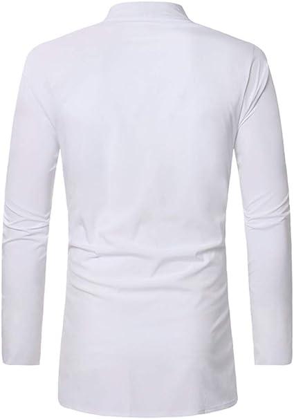 XQS Men African Dashiki Traditional Stand Collar Long Sleeve Dress Shirts
