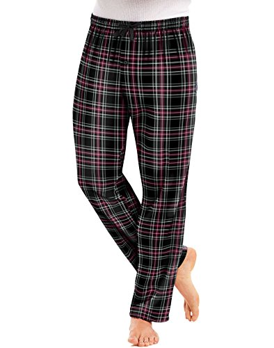 Hanes Men`s Flannel Pants with Comfort Flex Waistband, 2XL, Black Red