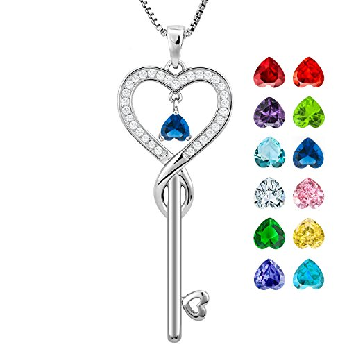 Birthday Gifts, September Birthstone Good Lucky Heart Key Necklace, Infinity Love Jewelry for Women, Mother & Daughter Necklace, Gifts for mom, sister, grandma, wife, friendship (Sapphire)