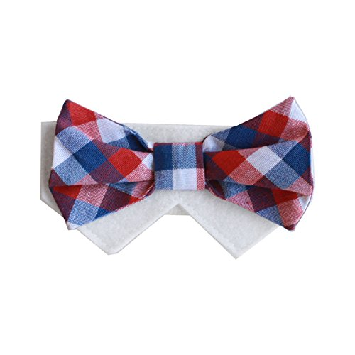Tail Trends Red White and Blue Wednesday Plaid Dog Bow Tie Collar Slider (Small) (White Collars Dog Collar)