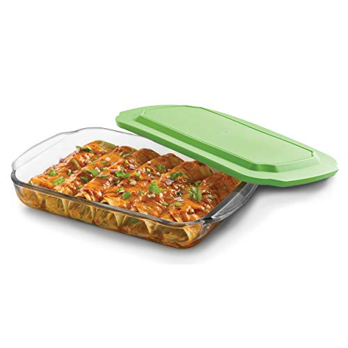 - Libbey Baker's Basics Glass Casserole Baking Dish with Plastic Lid, 8-inch by 12-inch