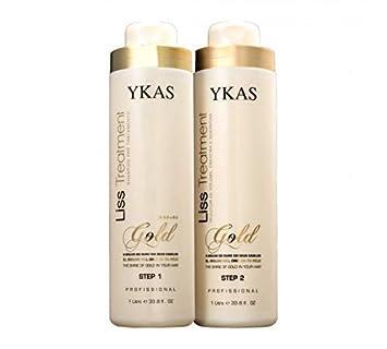 Y-Kas Gold Liss Treatmet Escova Progressiva de Ouro - Cepillo progresivo para alisar el cabello (queratina brasileña, 2 x 1000 ml): Amazon.es: Belleza