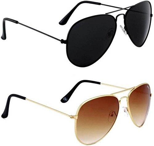 938d0f1235 Royal Wood Combo Pack of 2 Aviator Sunglasses (Black