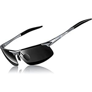 ATTCL Men's HOT Fashion Driving Polarized Sunglasses for Men Al-Mg Metal Frame Ultra Light A-Grey 8177