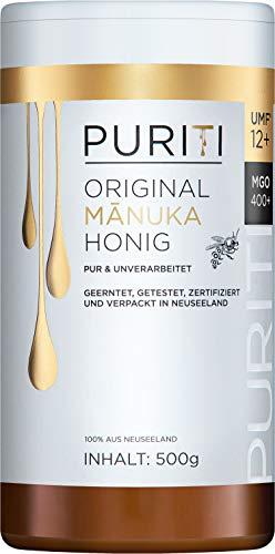 PURITI Manuka Honing MGO 400+ 500g uit Nieuw-Zeeland – gecertificeerd, laboratorium getest, zuiver natuurproduct, vrij…