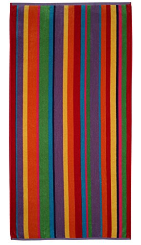 - Cotton Craft - Jacquard Double Woven Velour Beach Towel 32x63 2 Pack, Summer of Siam Multi Stripe, Thick Plush Luxurious Velour Pile, 450 GSM, 100% Pure Ringspun Cotton, Brilliant Vibrant Colors