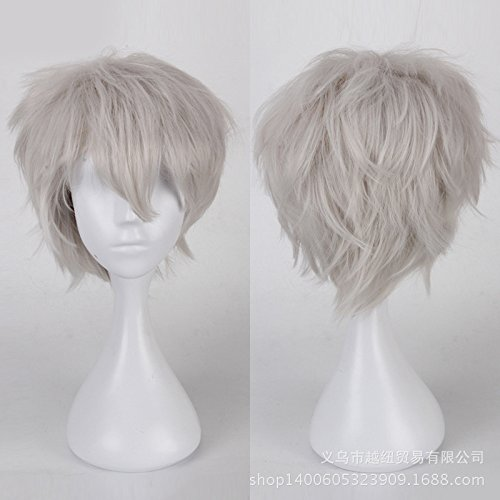 [S-noilite Short Anime Cosplay Wig Layered Hair Silvery Gray Full Wigs Ladies Girls Costume Wig UPS] (Pixies Costumes)