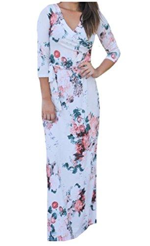 Coolred-femmes Bretelles Manches 3/4 Silm Moulant Impression Confortable Robe Maxi Blanc Élégant