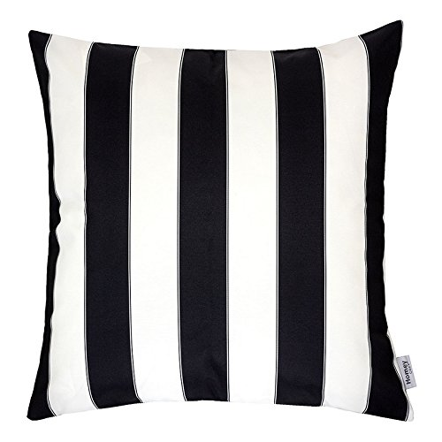 Homey Cozy Outdoor Throw Pillow Cover, Classic Stripe Black Large Pillow Sham Water/UV Fade/Stain-Resistance Patio Lawn Couch Sofa Lounge 18x18, Cover Only