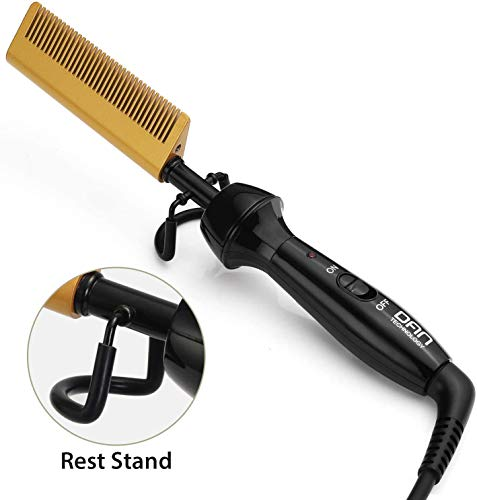 DAN Technology Anti-Scald Ceramic Hot Comb for Black Hair, Beard and Wigs, Multifunction High Heat 450℉ Electric Hair Straightener Curler with Dual Voltage for Travel and Home Use