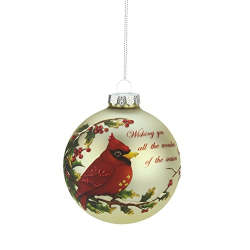 Northlight Red cardinal Wishing You All The Wonders of The Season Glass Ball Christmas Ornament, (All Seasons Ornament)