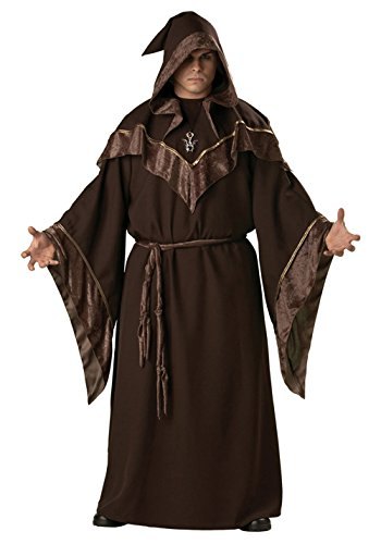 [GoLoveY Adult Evil Dark Sorcerer Long Robe Costume with Hood Brown Color (Medium)] (Mens Evil Knight Costumes)