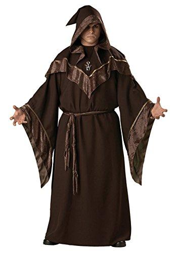 GoLoveY Adult Evil Dark Sorcerer Long Robe Costume with Hood Brown Color (Medium)