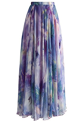 Pretchic Women's Blossom Floral Print Chiffon African Maxi Long Skirt Purple ()