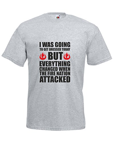 The Fire Nation Attacked, Mens Printed T-Shirt - Heather Grey/Black/Red S