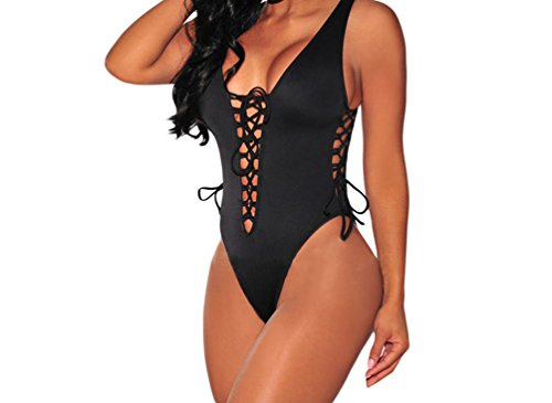 FQHOME Womens Black Lace up High Cut Swimsuit Size L (That 70s Show Outfits)