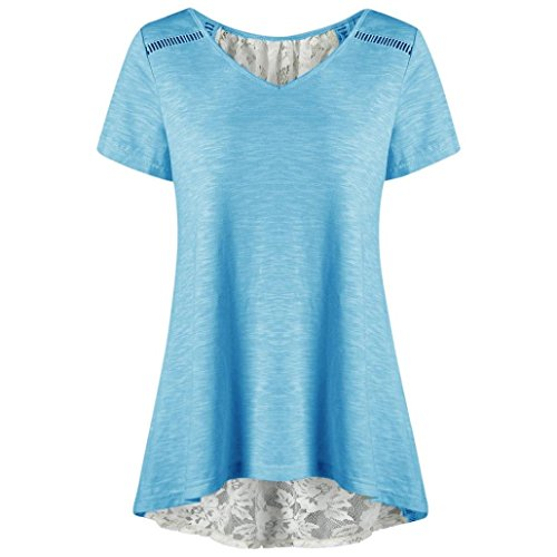 - DIANA'S Tops Women Casual Bandage Lace Patchwork V Neck Short Sleeve Blouse