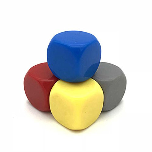 - Large Blank Dice Set - 4 Colors D6 Cube for Dice Games, Diy Sticker - Set of 4