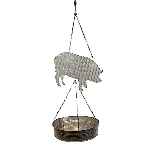 Hanging Birdfeeder Tray Platform Galvanized Metal Wild Birds Farmhouse Country Decor