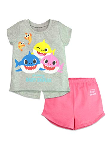 Pinkfong Baby Shark Toddler Girls Short Sleeve Tshirt Shorts Outfit Set Grey 2T