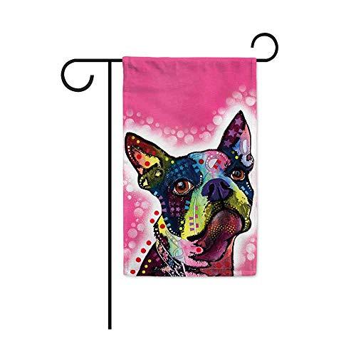 JillnJacks Boston Terrier Design Garden Flags - Dean Russo Art Loves Dogs