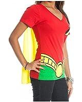 Bioworld DC Comics Robin Juniors Red V-Neck Cape T-Shirt-Red