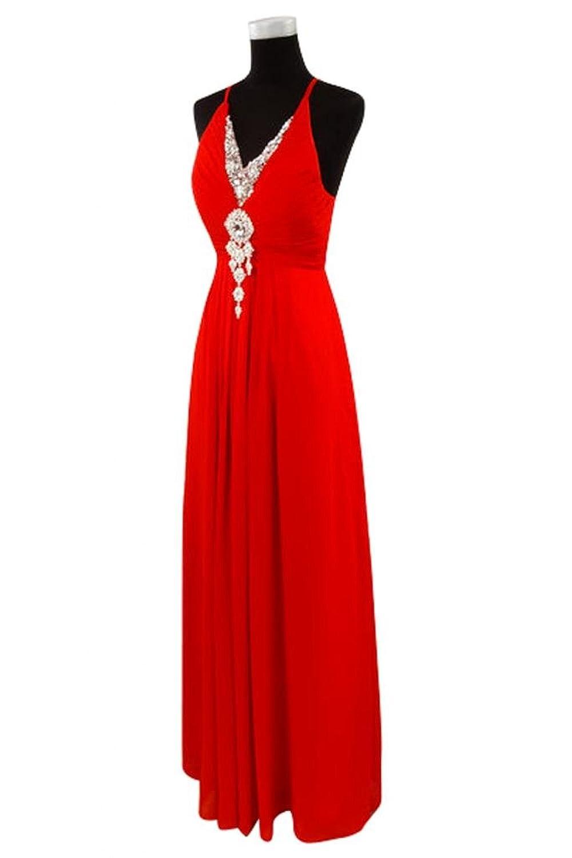 Gorgeous Bride Long Evening Dress Chiffon Cross Straps Rhinestones