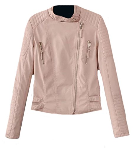 Generic Womens Vouge Slim Zip-up Faux Leather Motorcycle Jackets Pink Medium