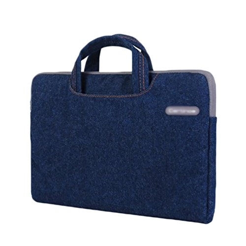YiJee Mezclilla Fundas para Laptop Bolsa Portatil Macbook de 11 - 15.4 Pulgadas 12 Inch Azul
