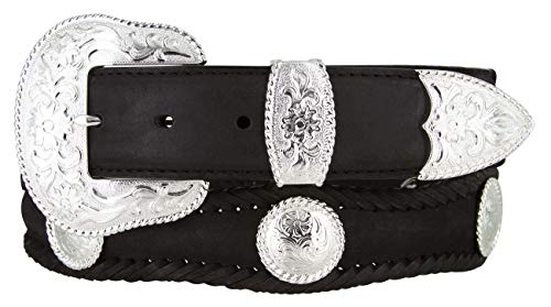 Silver City Western Concho Leather Scalloped Belt Black 32