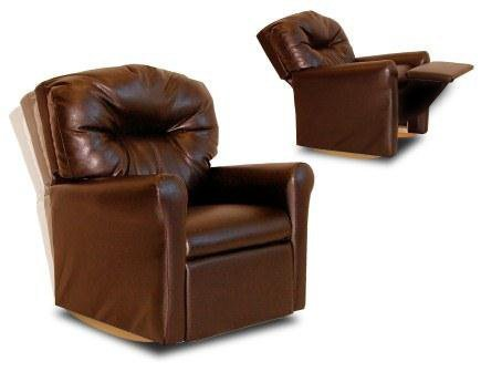 Pecan Upholstered Chair - Dozydotes Contemporary Child Rocker Recliner Chair - Pecan Brown Leather-Like