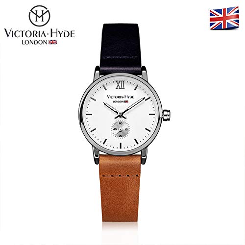 Dress Brown Dial (Victoria Hyde Women's Dress Wristwatch Small White Dial Genuine Leather Strap Blue Brown)