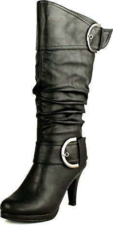 Top Moda Womens Page-22 Knee High Round Toe Buckle Slouched Low Heel Boots, Black, 7.5
