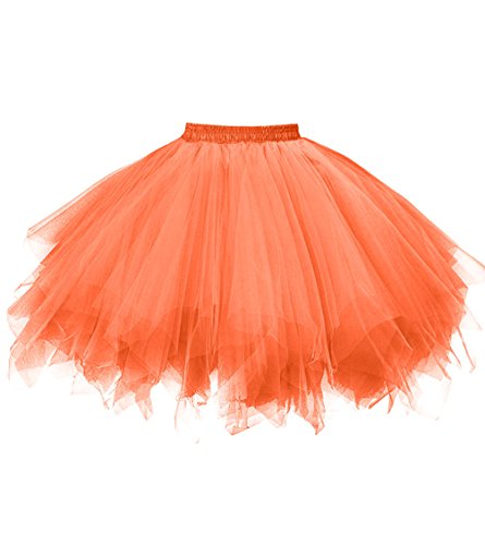 Dresstore Women's Short Vintage Petticoat Skirt Ballet Bubble Tutu Multi-colored Bright Orange XXL]()