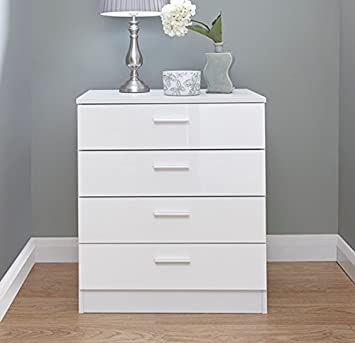 Home Source Chest of Drawers White Gloss Bedroom Furniture 4 Drawer ...