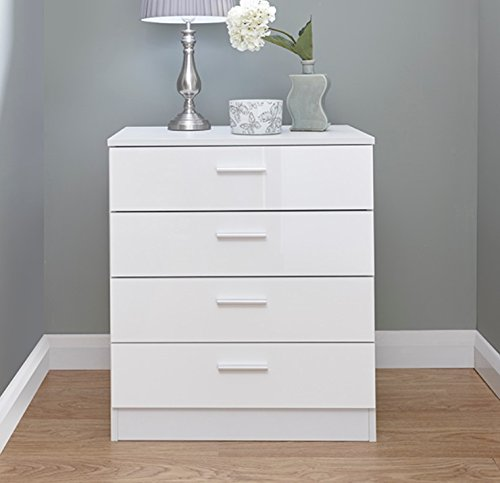 Home Source Chest Of Drawers White Gloss Bedroom Furniture 4 Drawer  Melbourne