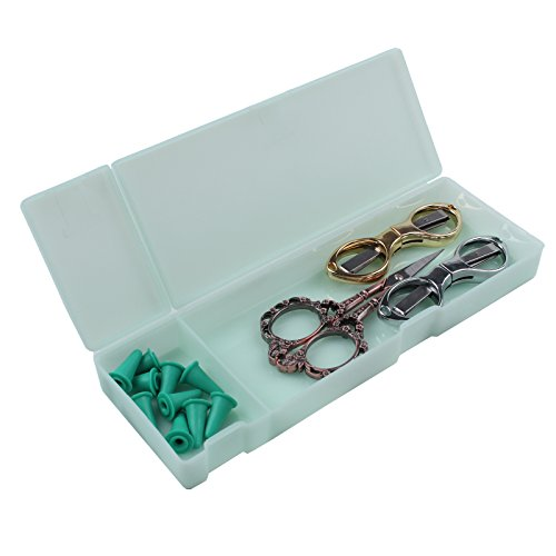 BIHRTC Portable Folding Fishing Line Scissors Beading Thread Cutter Clothes Thread Embroidery Cross-stitch Craft Sewing Scissors Vintage European Scissors with 10 Pcs Safety Cover in a Storage Case