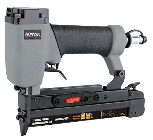 "NuMax SP123 Pneumatic 23 Gauge 1"" Micro Pin Nailer Ergonomic and Lightweight Pin Nail Gun with Pin Size Selector and Safety Trigger"