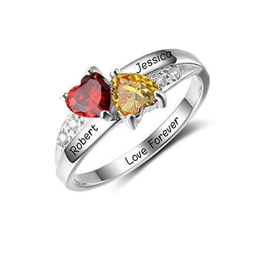 Diamondido Personalized Simulated Birthstone Promise Names Ring for Girlfriend Engagement Heart Rings for Her -