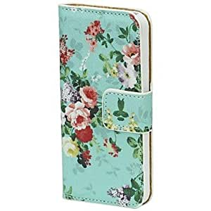 LZX Noble Peony Pattern Wallet Stand Leather Case with Credit ID Card Slots Fit for iPhone 5G/5/5S