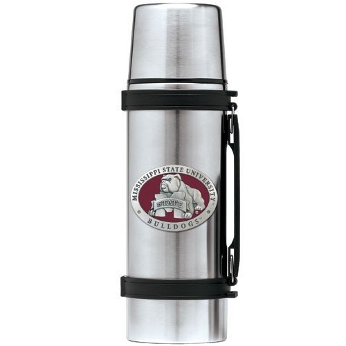 Mississippi State Bulldogs Stainless Steel Thermos Mascot - Pewter Thermos Logo