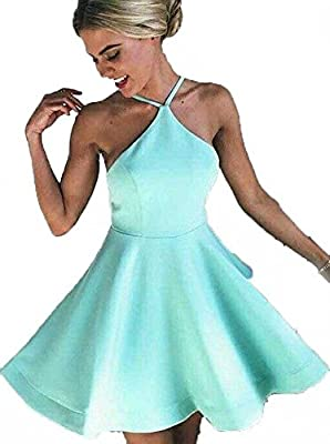Fanmu Halter Neck Short Homecoming Dresses Cocktail Party Dress Mint US 8