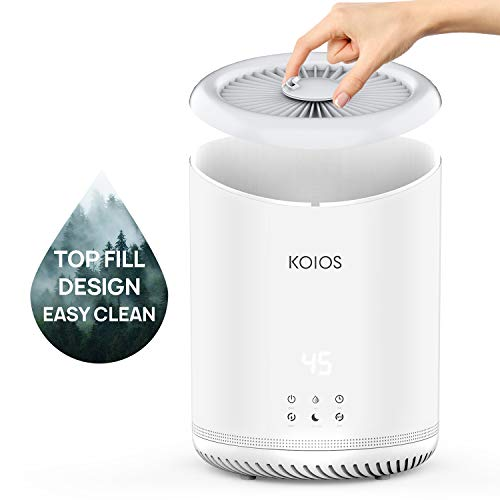 KOIOS Upgraded Top Fill Humidifiers, Ultrasonic Cool Mist Humidifier with humidistat, 3 Mist Levels, Ultra Quiet, Auto Shut-Off, Sleep Mode, with 4L Large Tank, humidifiers for Bedroom, Baby, Office