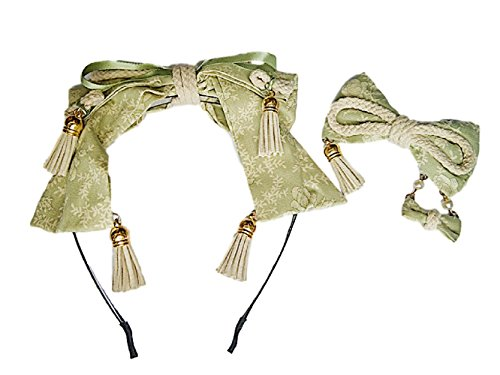 GLK Kawaii Cosutume Oriental Japanese Lolita Style Green Tea Color Hair Clip Kanzashi Headband Tassel Rope Cosplay Set (Vinyl 4 Piece Nurse Costume)