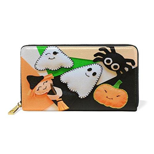Zip Wallets Halloween Leather Long Handbag Black5 Purse Clutch Real Mummy Around Passport pwIcIOSdq