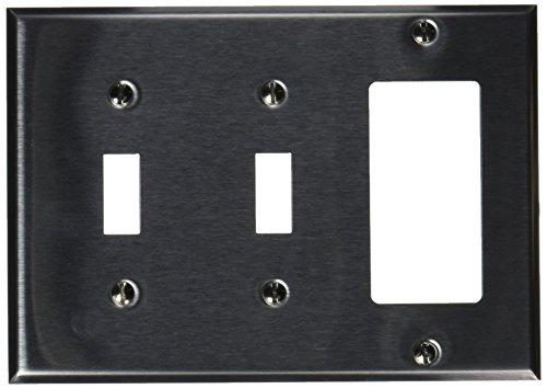 Morris 83580 430 Wall Plate, 3 Gang, 2 Toggle, 1 GFCI, Stainless Steel 3 Gang 2 Toggle