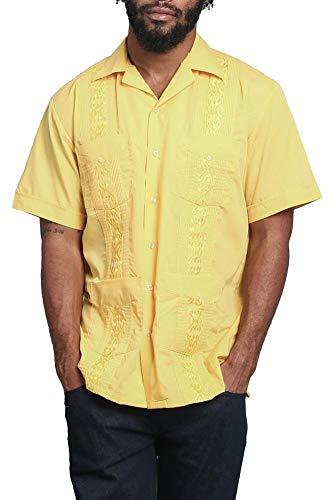 Men's Guayabera Premium Lightweight Embroidered Pleated Cuban Shirt - Omega - Yellow - ()