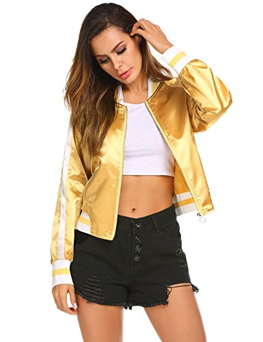 Zeagoo Women's Classic Solid Striped Biker Jacket Zip up Fashion Bomber Jacket Coat (M, Golden)
