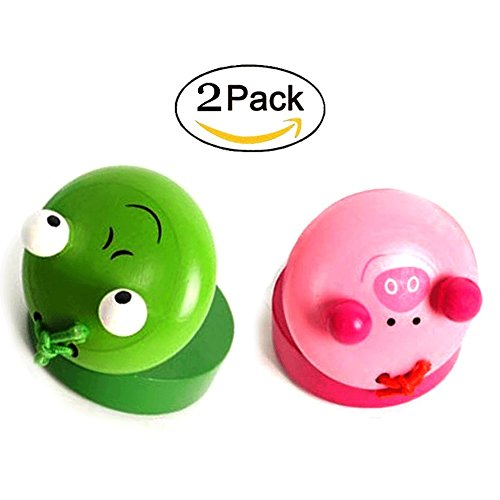 OPOCC Musical Instruments Rhythm Kids Toys Animal Pattern Wooden Finger Castanet /Handled Castanets  for Baby Early Education Random Color (Castanets 2pcs)